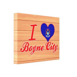 Amo la ciudad de Boyne, Michigan Lienzo Envuelto Para Galerias
