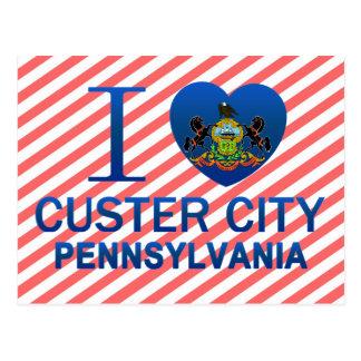 Amo la ciudad de Custer, PA Postales