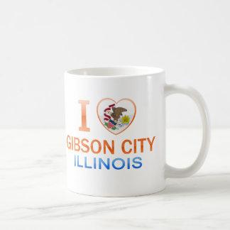 Amo la ciudad de Gibson, IL Taza Básica Blanca