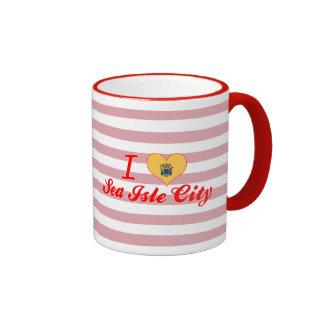 Amo la ciudad de la isla del mar, New Jersey Taza De Café