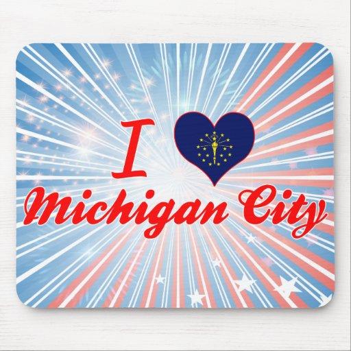 Amo la ciudad de Michigan, Indiana Tapetes De Ratón