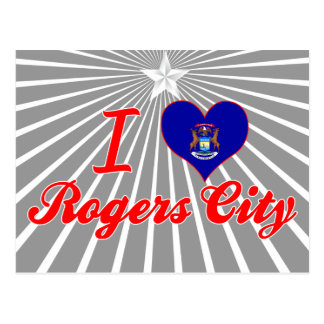 Amo la ciudad de Rogers, Michigan Postales