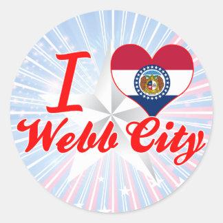 Amo la ciudad de Webb, Missouri Pegatinas Redondas