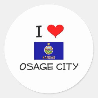 Amo la CIUDAD Kansas de OSAGE Pegatinas Redondas
