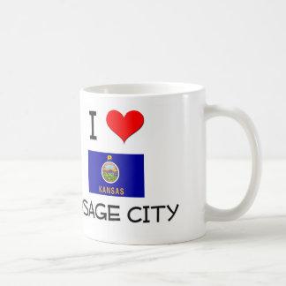 Amo la CIUDAD Kansas de OSAGE Tazas De Café