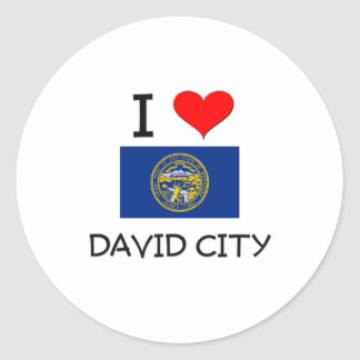 Amo la ciudad Nebraska de David Pegatina Redonda