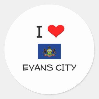 Amo la ciudad Pennsylvania de Evans Pegatina Redonda