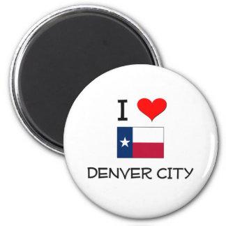 Amo la ciudad Tejas de Denver Imán Redondo 5 Cm