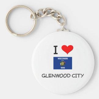 Amo la ciudad Wisconsin de Glenwood Llavero Redondo Tipo Pin