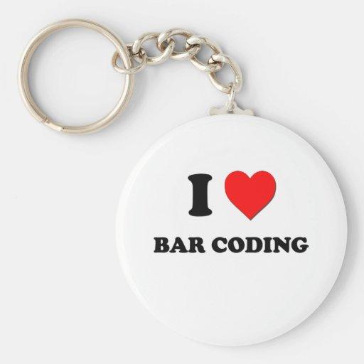 Amo la codificación de barra llavero redondo tipo pin