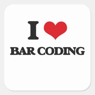 Amo la codificación de barra calcomanía cuadradase