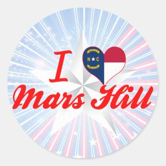 Amo la colina de Marte, Carolina del Norte Pegatina Redonda