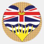 Amo la Columbia Británica de Canadá Etiqueta Redonda