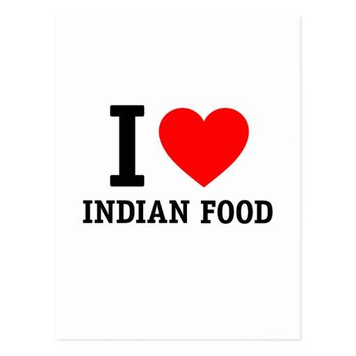Amo la comida india tarjeta postal
