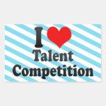 Amo la competencia del talento pegatina rectangular