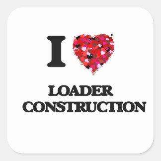 Amo la construcción   del cargador pegatina cuadrada