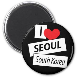 Amo la Corea del Sur de Seul Imán Redondo 5 Cm