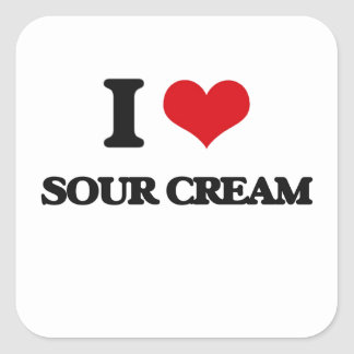 Amo la crema agria pegatina cuadrada