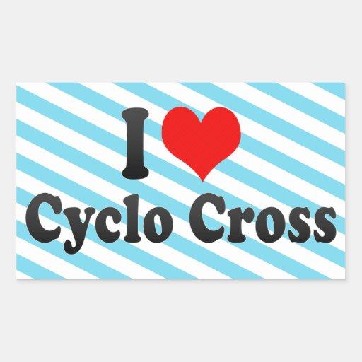 Amo la cruz cicla pegatina rectangular