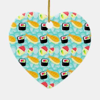Amo la decoración del sushi adorno navideño de cerámica en forma de corazón