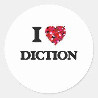 Amo la dicción pegatina redonda