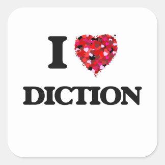 Amo la dicción pegatina cuadrada