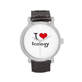 Amo la ecología relojes de pulsera