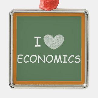 Amo la economía adorno navideño cuadrado de metal
