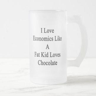 Amo la economía como un chocolate de los amores taza cristal mate