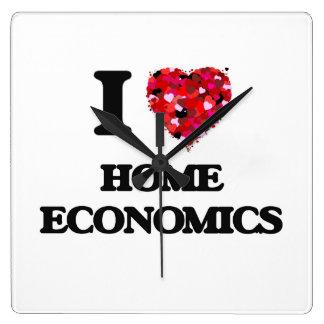 Amo la economía doméstica reloj cuadrado