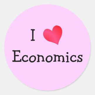 Amo la economía pegatina redonda