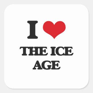 Amo la edad de hielo pegatina cuadrada