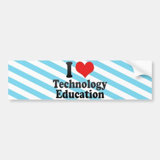 Amo la educación de la tecnología pegatina para auto