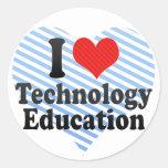 Amo la educación de la tecnología etiqueta
