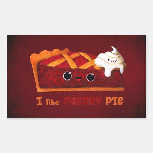 Amo la empanada de la cereza rectangular pegatinas