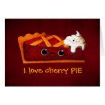 Amo la empanada de la cereza tarjeta de felicitación