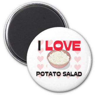 Amo la ensalada de patata imán redondo 5 cm