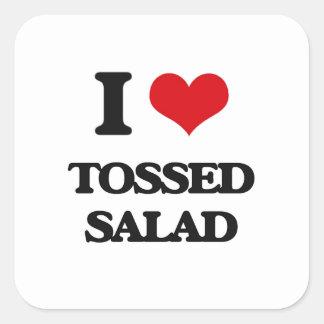 Amo la ensalada lanzada pegatina cuadrada