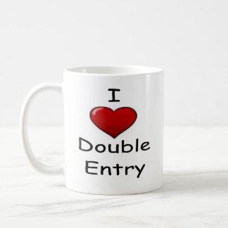 Amo la entrada doble (2) taza básica blanca
