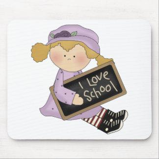 Amo la escuela, chica Mousepad