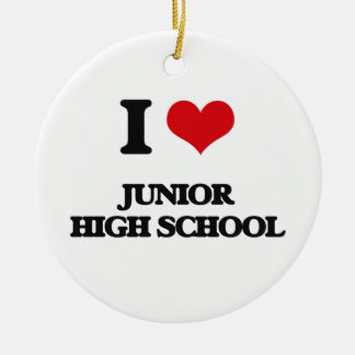 Amo la escuela de secundaria adorno navideño redondo de cerámica