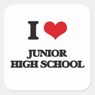 Amo la escuela de secundaria pegatina cuadrada