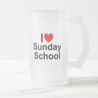 Amo la escuela dominical (del corazón) jarra de cerveza esmerilada