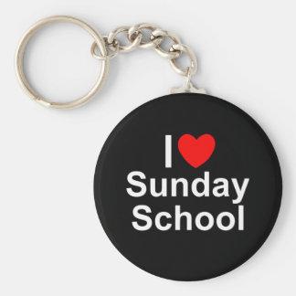 Amo la escuela dominical (del corazón) llavero redondo tipo pin