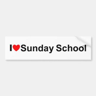 Amo la escuela dominical (del corazón) pegatina para auto