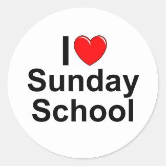 Amo la escuela dominical (del corazón) pegatina redonda