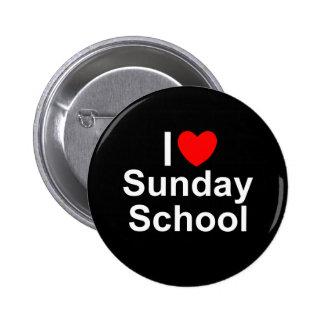 Amo la escuela dominical (del corazón) pin redondo de 2 pulgadas