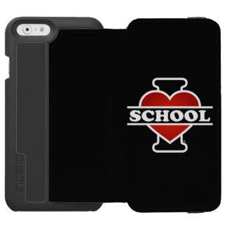 Amo la escuela funda billetera para iPhone 6 watson