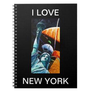 Amo la estatua de Nueva York del cuaderno del arte
