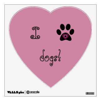 Amo la etiqueta de la pared de los perros vinilo adhesivo